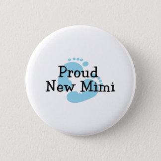 Proud New Mimi Baby Boy Footprints Pinback Button