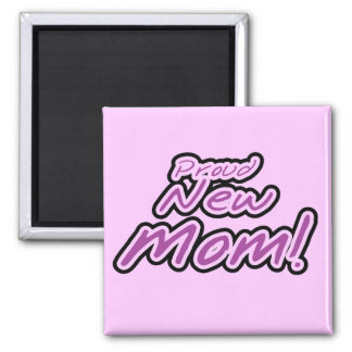 Proud New Mom Purple Text Tshirts and Gifts 2 Inch Square Magnet