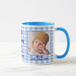 Proud New Mommy Baby Photo Mug - Blue Argyle