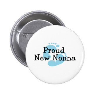Proud New Nonna Baby Boy Footprints Buttons