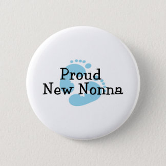 Proud New Nonna Baby Boy Footprints Pinback Button