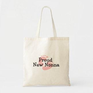 Proud New Nonna Baby Girl Footprints Tote Bag