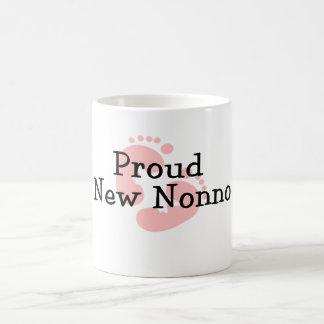 Proud New Nonno Baby Girl Footprints Classic White Coffee Mug