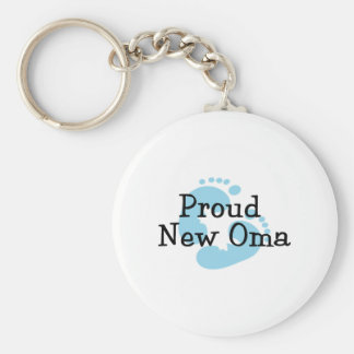Proud New Oma Baby Boy Footprints Keychain