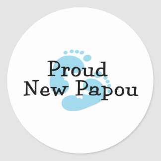 Proud New Papou Baby Boy Footprints Round Sticker