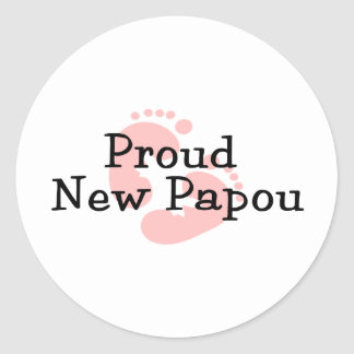 Proud New Papou Baby Girl Footprints Round Sticker