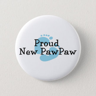 Proud New PawPaw Baby Boy Footprints Button