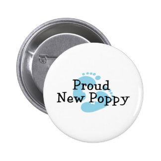 Proud New Poppy Baby Boy Footprints Pinback Button