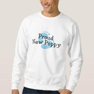Proud New Poppy Baby Boy Footprints Sweatshirt