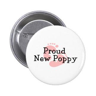 Proud New Poppy Baby Girl Footprints Pinback Button