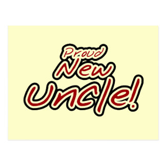 Proud New Uncle - Red and Black Text Postcard