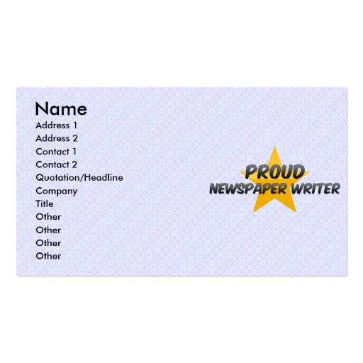 Proud Newspaper Writer Business Card Templates