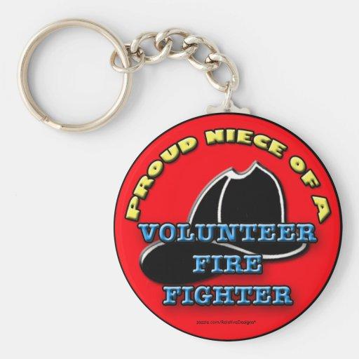 Proud Niece of a Volunteer Firefighter keychain