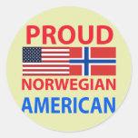 Proud Norwegian American Round Stickers