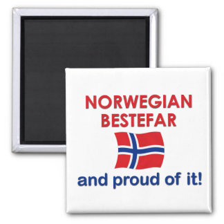Proud Norwegian Bestefar (grandfather) 2 Inch Square Magnet