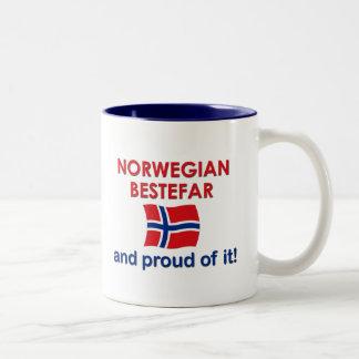 Proud Norwegian Bestefar (grandfather) Two-Tone Coffee Mug