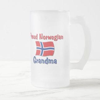 Proud Norwegian Grandma Frosted Glass Beer Mug