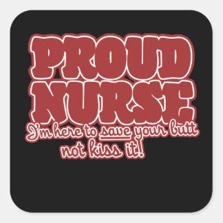 proud nurse humor square sticker