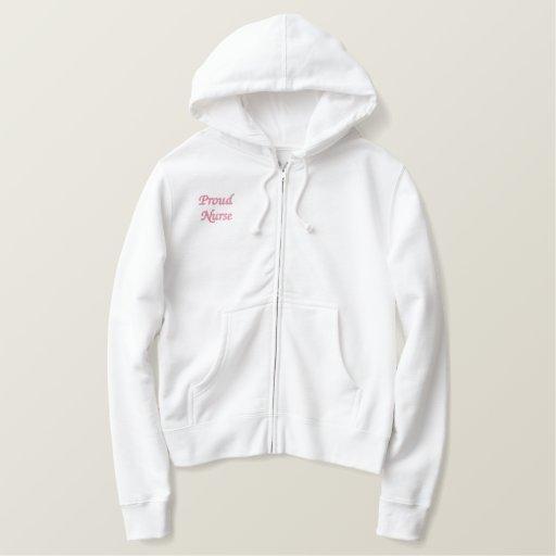 Proud Nurse-R.N./Pink Embroidered Hoodie