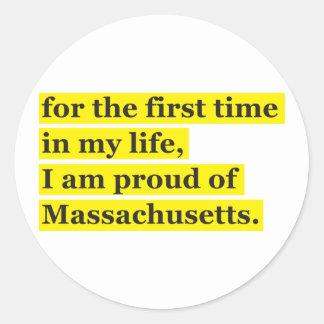 Proud of Massachusetts Classic Round Sticker