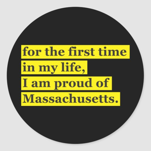 Proud of Massachusetts Round Sticker