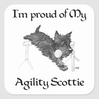 Proud of My Agility Scottie Square Sticker