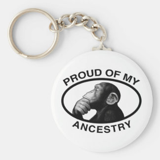 Proud Of My Ancestry Chimp Basic Round Button Keychain
