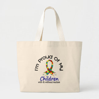Proud Of My Children With & Without Autism Large Tote Bag