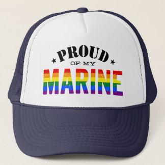 Proud of My Gay Marine Rainbow Flag Trucker Hat