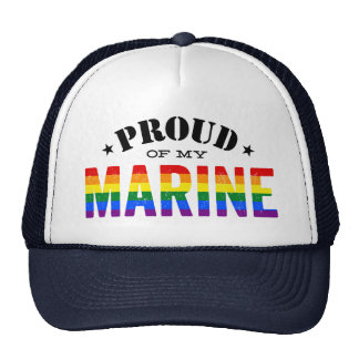 Proud of My Gay Marine Rainbow Flag Trucker Hat