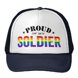 Proud of My Gay Soldier Rainbow Flag Trucker Hat
