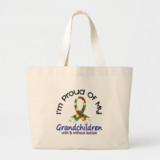 Proud Of My Grandchildren With & Without Autism Large Tote Bag