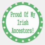 Proud Of My Irish Ancestors Classic Round Sticker