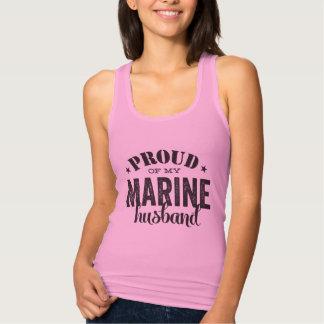 Proud of my MARINE husband Jersey Racerback Tank Top