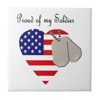 Proud of my Soldier Small Square Tile