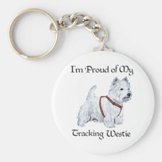 Proud of My Tracking Westie Basic Round Button Keychain