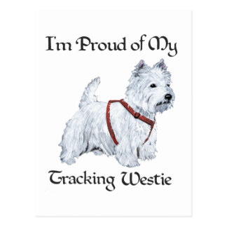 Proud of My Tracking Westie Postcard
