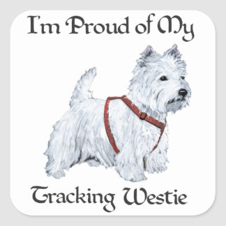 Proud of My Tracking Westie Square Sticker