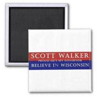 Proud of Scott Walker 2 Inch Square Magnet
