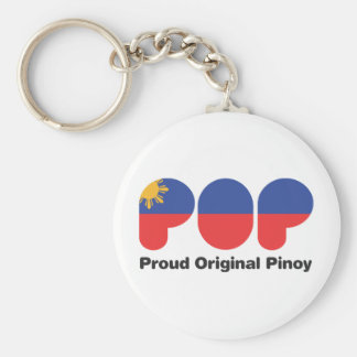 PROUD ORIGINAL PINOY wht  (TM) Basic Round Button Keychain