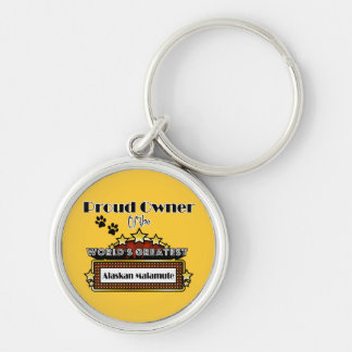 Proud Owner World's Greatest Alaskan Malamute Silver-Colored Round Keychain