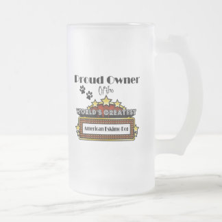 Proud Owner World's Greatest American Eskimo Dog Frosted Glass Beer Mug
