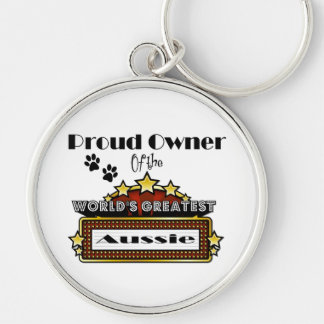Proud Owner World's Greatest Aussie Silver-Colored Round Keychain