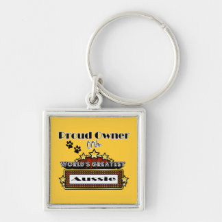 Proud Owner World's Greatest Aussie Silver-Colored Square Keychain
