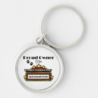 Proud Owner World's Greatest Jack Russell Terrier Silver-Colored Round Keychain