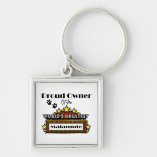 Proud Owner World's Greatest Malamute Silver-Colored Square Keychain