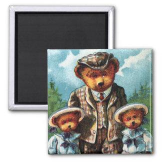 Proud Papa Bear - Letter P - Vintage Teddy Bear 2 Inch Square Magnet