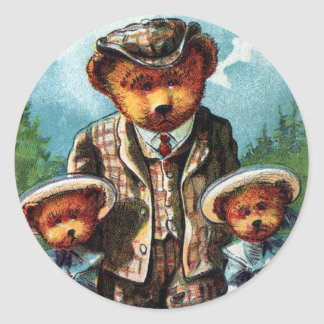Proud Papa Bear - Letter P - Vintage Teddy Bear Classic Round Sticker