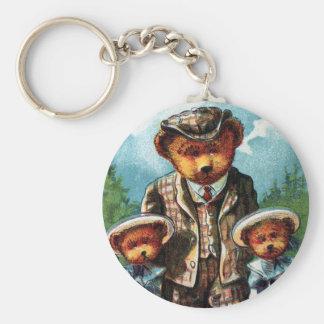 Proud Papa Bear - Letter P - Vintage Teddy Bear Key Chain