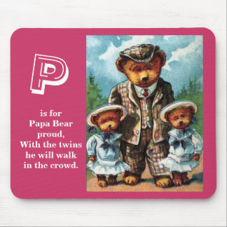 Proud Papa Bear - Letter P - Vintage Teddy Bear Mouse Pad